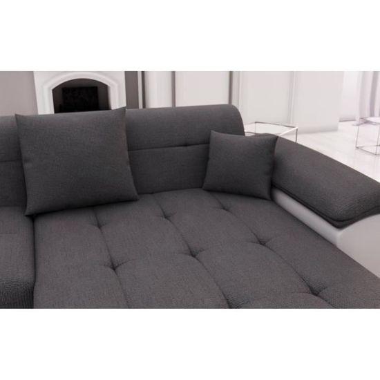 Belmont Canapé D Angle Panoramique En U Simili Et Tissu Blanc Et Gris Achat Vente Canapé Sofa Divan Soldes Cdiscount