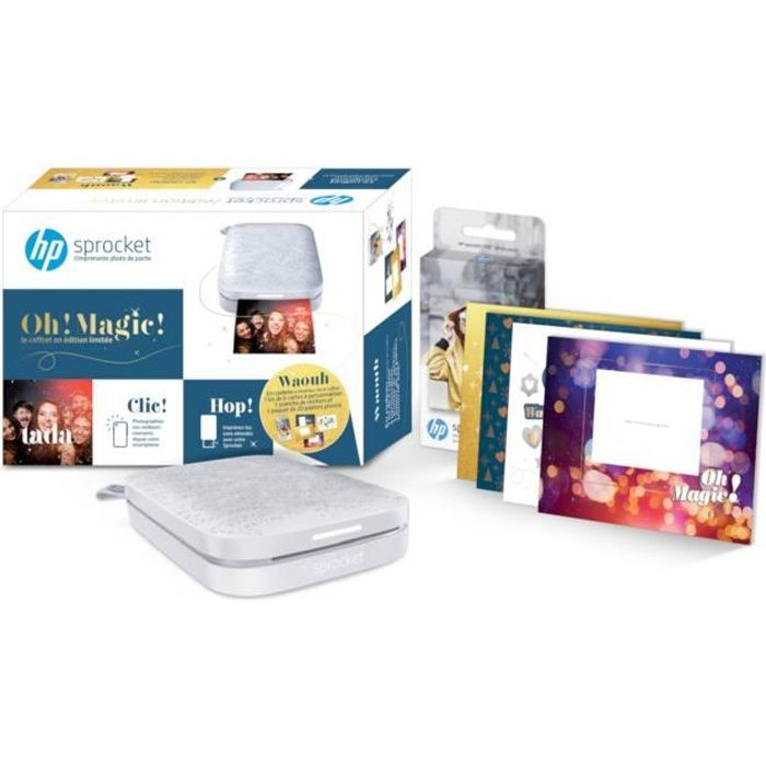 IMPRIMANTE HP Sprocket Grise 200+1 pack papier Zink 20 feuill