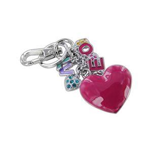 Je vous aime avec coeurs en Cuir Rose Métal Keychain Porte-clés