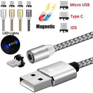 CÂBLE RÉSEAU  Gris 1M 360 ° rond adaptateur magnétique USB Type-