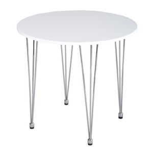 TABLE À MANGER SEULE Table de salle à manger ronde pieds en métal Homy