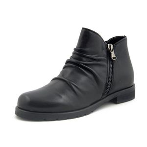 BOTTINE Bottine femme en cuir noir, talon bas, bottine d'h