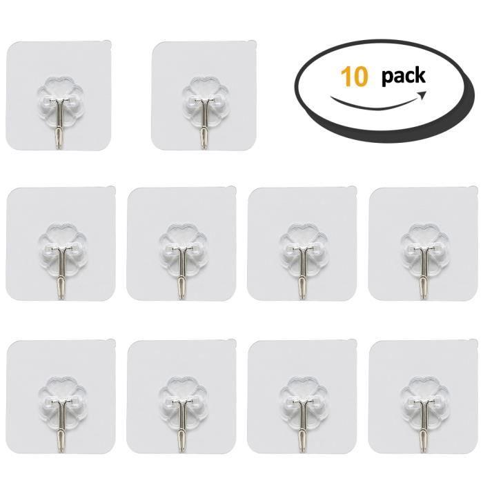 10pcs Crochet adhesif Patère Porte manteau Mural Transparent Etanche en Plastique pour Serviettes Torchons Salle de Bain Cuisine