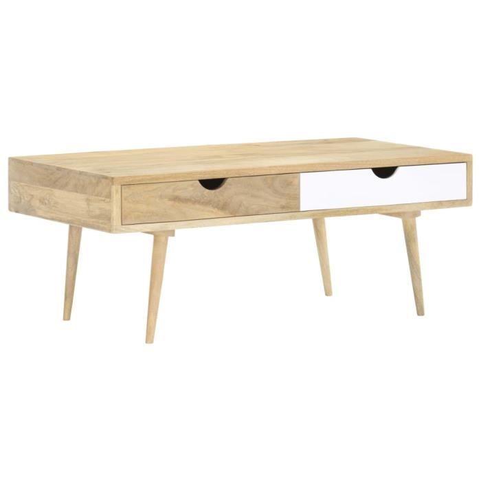 Table Basse Table de salon Industrielle 117x55x45 cm Bois de manguier massif