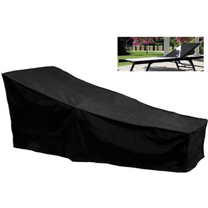 Housse Bain de Soleil Chaise Longue Jardin Terrasse, Couverture Protection Bâche Bain de Soleil Chaise Longue 208 x 79 x 76cm, Noir