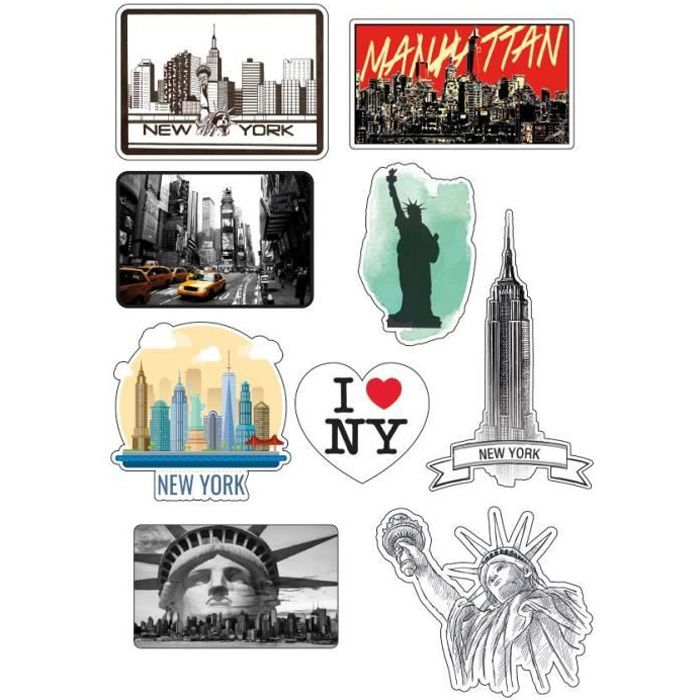 Planche format A4 stickers New York