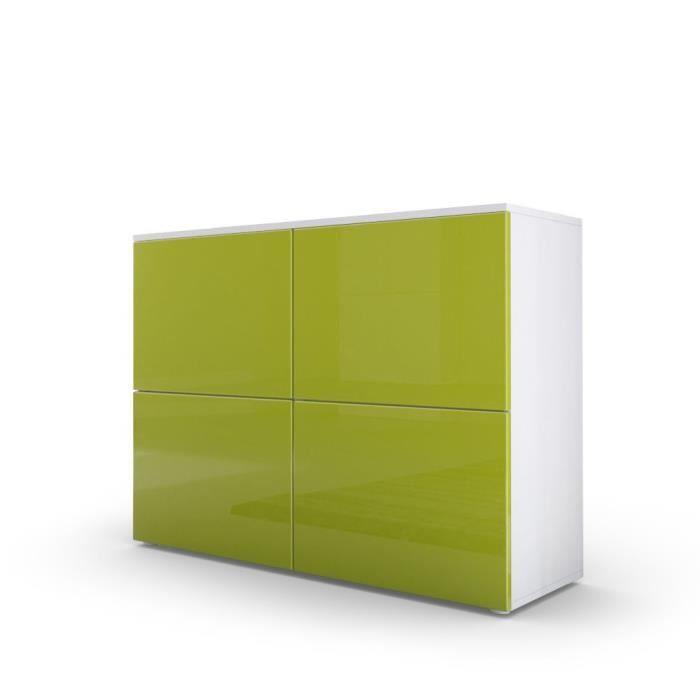 Commode design avec le corps mat blanc et façade laquée blanche et verte claire