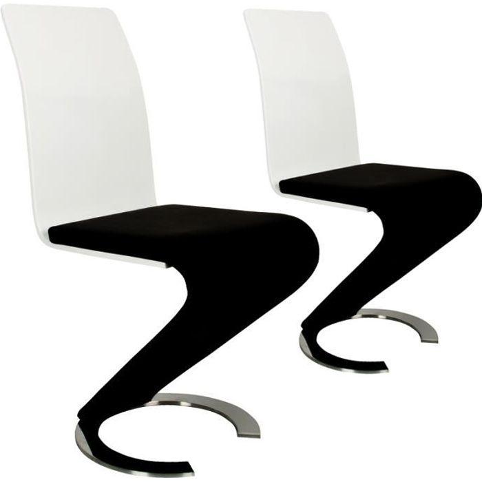 KIZA - Lot de 2 chaises design en simili cuir noir et blanc