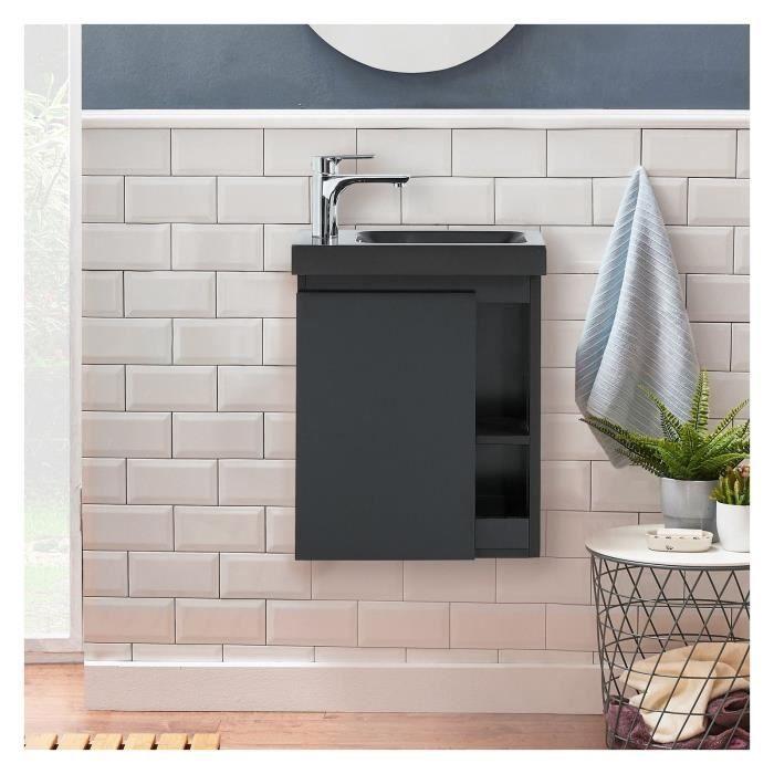 Meuble Lave-mains Noir Carbone avec Vasque Noire HAMPTON