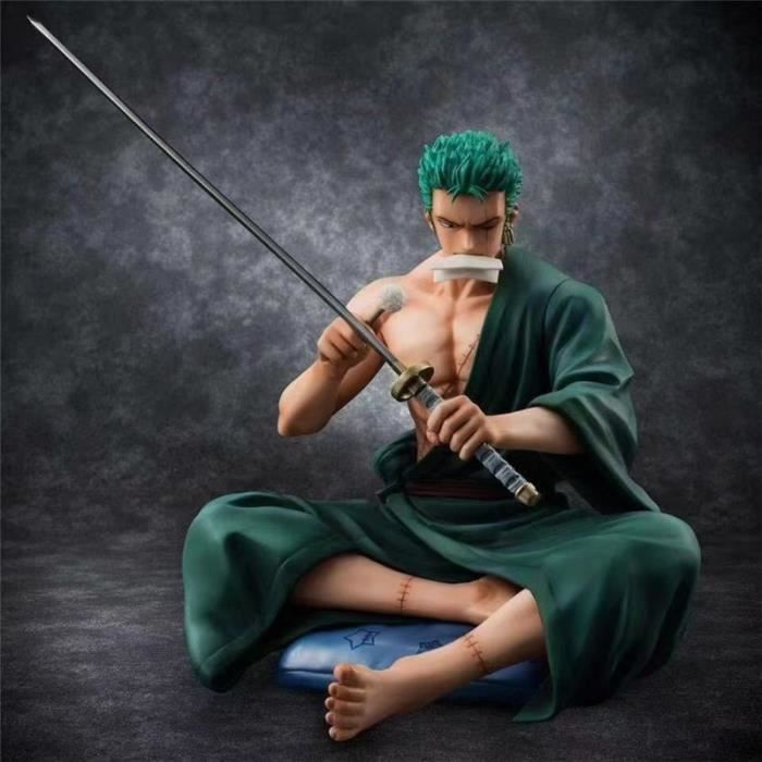 Japon Anime One Piece Figure Modèle Nouveau monde Roronoa Zoro Couteau Assis Position Action PVC Figure Collection Cadeau Jouet
