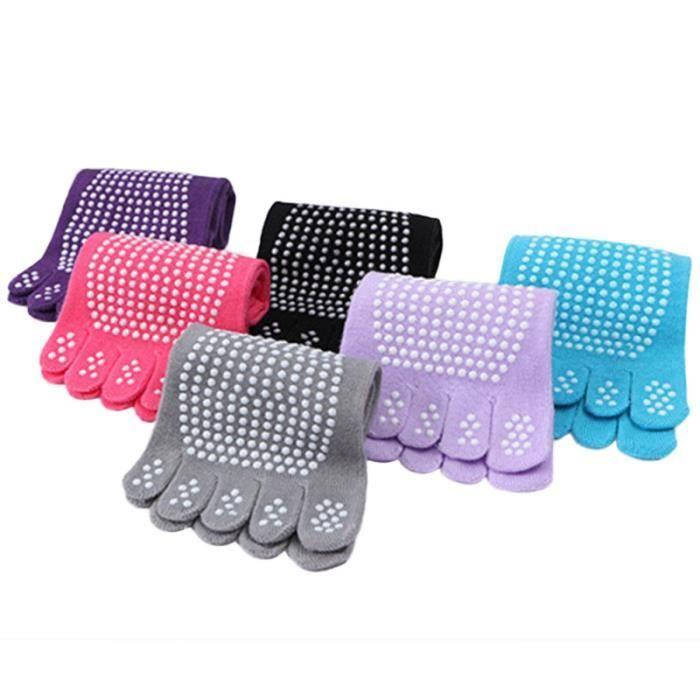 6 paires de chaussettes antidérapantes pour femmes Yoga à cinq doigts d'orteils semelles avec GROUND MAT - GYM MAT - YOGA MAT