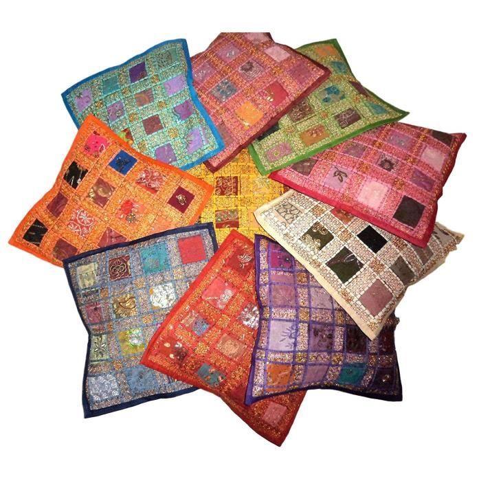 Pushpacrafts Lot de 10 housses de coussin carré Style indien vintage avec broderie et patchwork, 41 x 41 cm