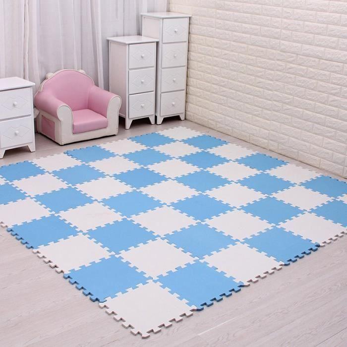 Tapis d'éveil,MQIAOHAM bébé EVA mousse jeu Puzzle tapis 18 pièces-lot noir et blanc exercice de - Type white blue-18 pieces