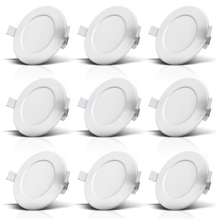 B.K.Licht lot de 9 spots encastrables spéciales salle de bain IP44, protégés contre les projections d'eau, ultra plat, Ø115mm,