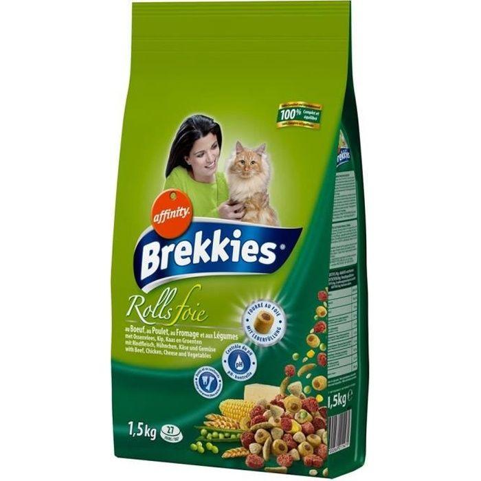 Brekkies Rolls Foie Chats Croquettes au Boeuf Poulet Fromage et Légumes 1,5Kg (lot de 3)