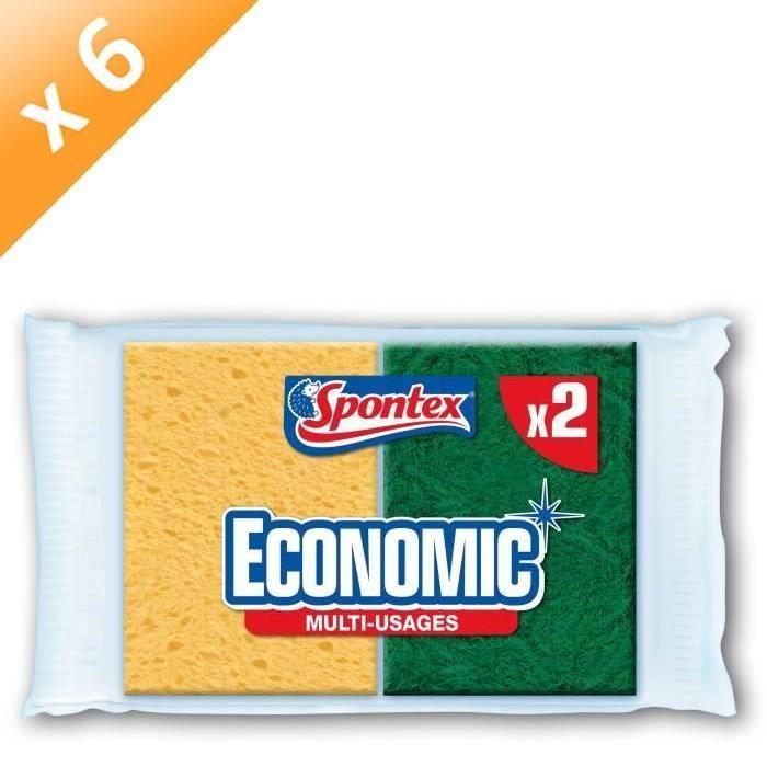 SPONTEX Eponges Economic - Lot de 2 x 6