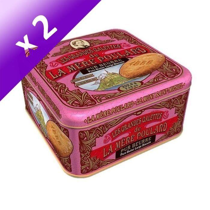 [LOT DE 2] Biscuiterie la Mère Poulard Demi-coffret Fer Collector Grandes Galettes