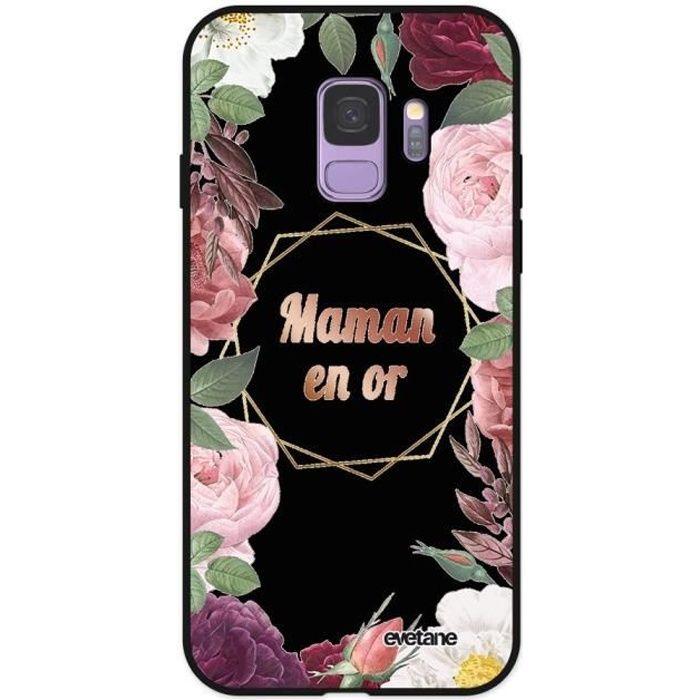 Coque pour Samsung Galaxy S9 Silicone Liquide Douce noir Coeur Maman D'amour Ecriture Tendance et Design Evetane