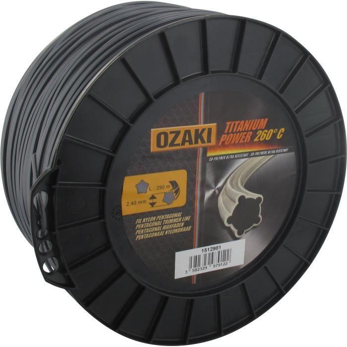Bobine fil OZAKI TITANIUM POWER 2,4mm X 290m Profil pentagonal, co-polymère haute résistance