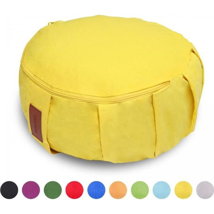 GORILLA SPORTS® coussin de méditation jaune - Hauteur d'assise 18 cm - coussin de yoga avec rembourrage en balles d'épeautre - Houss