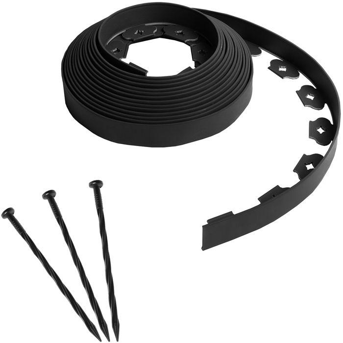Bordure de jardin flexible noire - 4 cm x 10 mètres avec 30 piquets d'ancrage