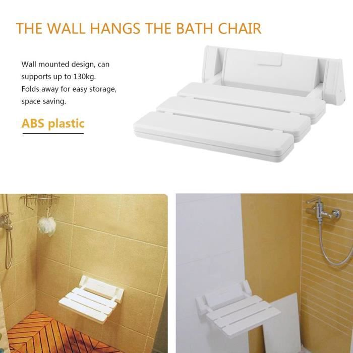 Pliable Siège de douche mural ABS Accessoire de douche tabouret mural de douche 31.7 * 34.5 * 10cm tabouret de bain