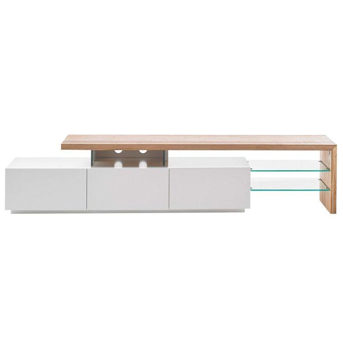 Miliboo - Meuble TV design laqué blanc plateau chêne 204 cm MEDIA