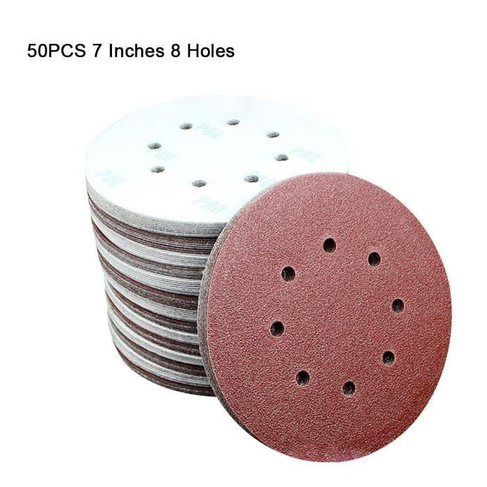 Lot de 50 disques abrasifs de 17,8 cm à 8 trous de 60 à 2000 grains pour ponceuse orbitale