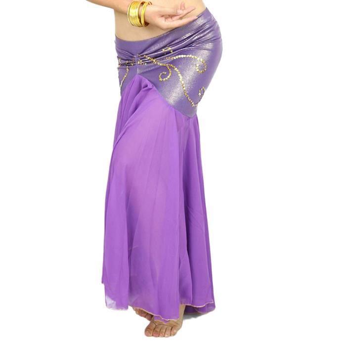 Femme Longue Jupe De Danse Professionnel Arabe Orientale Belly Danse Violet foncé Taille unique