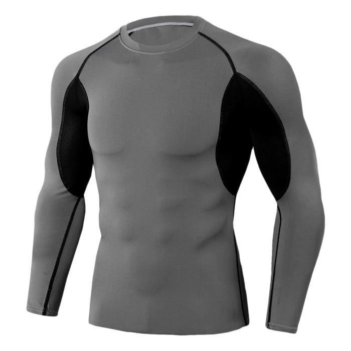 Tee Shirt De Sport Pour Homme Manches Longues Haut De Compression Base Layer Séchage Rapide TC90 M
