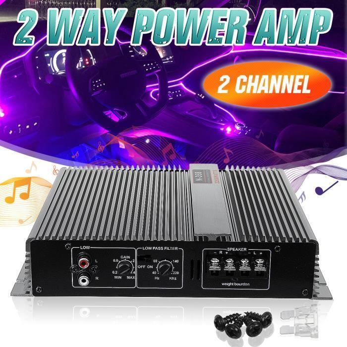 NEUFU Amplificateur Audio de Voiture 2 Channel 2 Way Class A Subwoofer Power Amp 12V 2200W