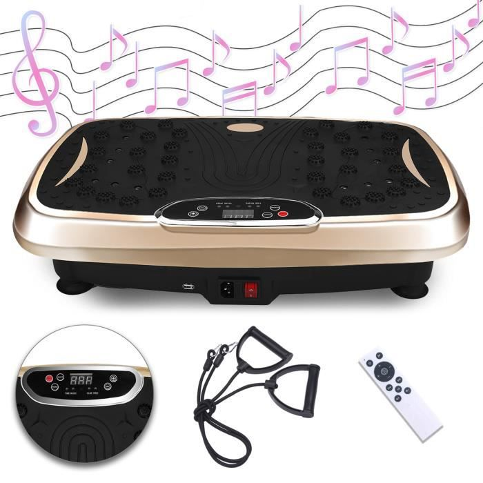 SINBIDE® Plaque Vibrante Fitness Plateforme Vibrante Bluetooth, Oscillante Ultra Slim 120 Vitesses Réglables + 2 Corde de résistance