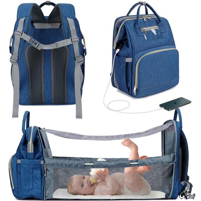 3 en 1 maman sac voyage mère et bébé sac étanche pliant avec chargement USB berceau sac bébé poussette -Bleu
