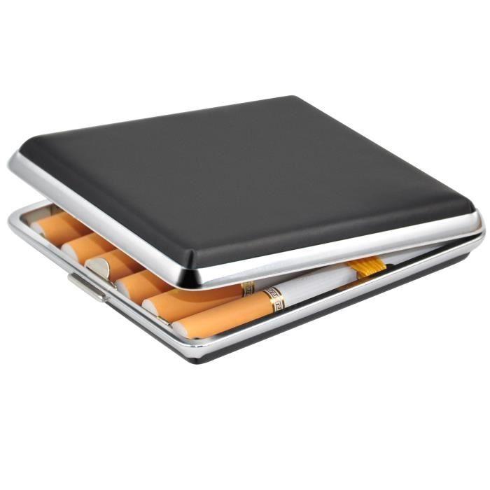 TRIXES Étui à cigarettes en simili cuir et chrome noir