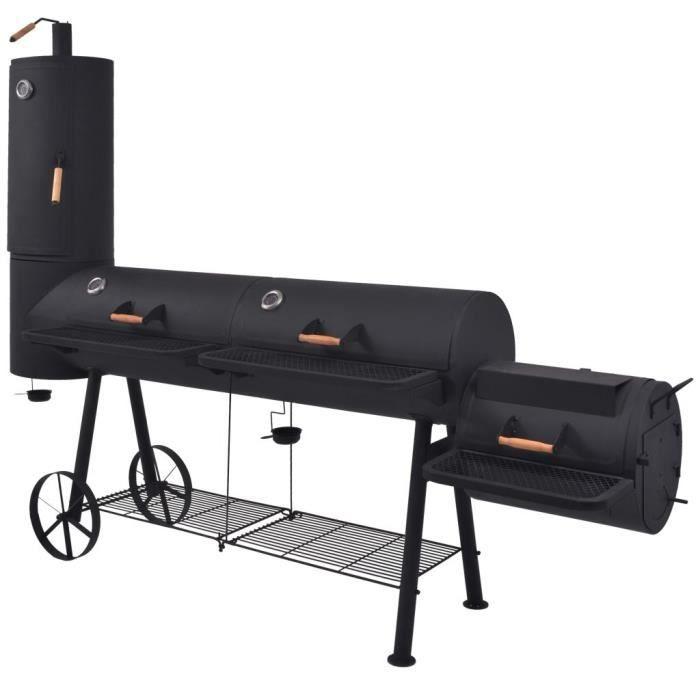 Barbecue au charbon de bois avec étagère inférieure Noir XXXL
