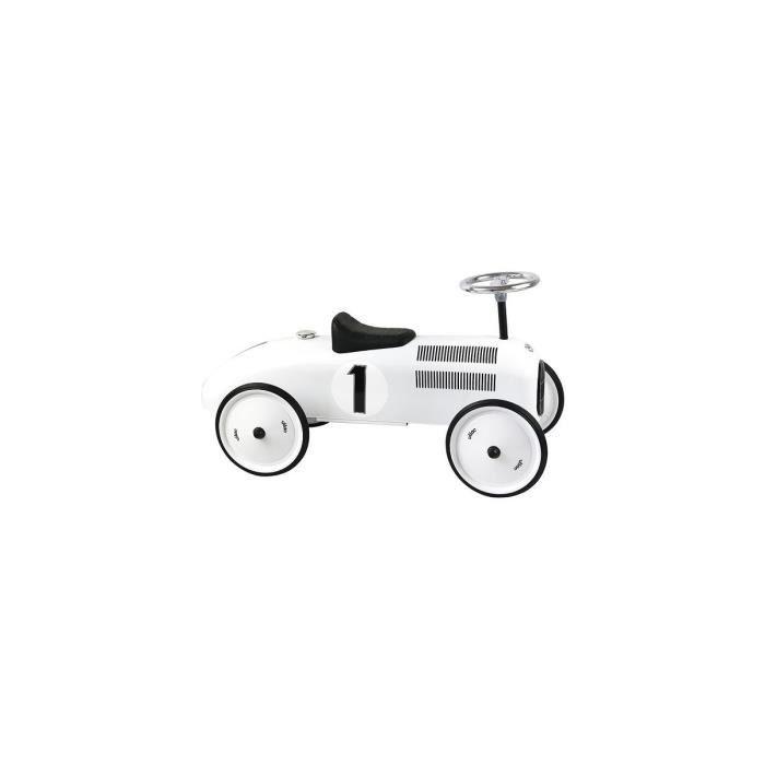 Porteur bebe - Voiture de course retro en metal Vilac - Coloris Blanc polaire - Des 18 mois / 20 kg max