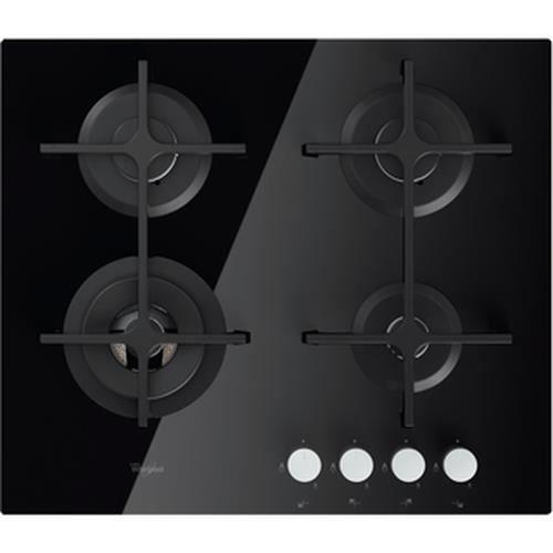 Whirlpool GOA 6423-NB, Intégré, Cuisinière à gaz, Verre, Noir, Fonte, Rotatif