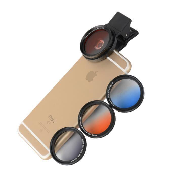 4 pièces Clip-on 37mm téléphone portable appareil photo filtre objectif lentille reflex avec APPAREIL PHOTO NUMERIQUE HYBRIDE