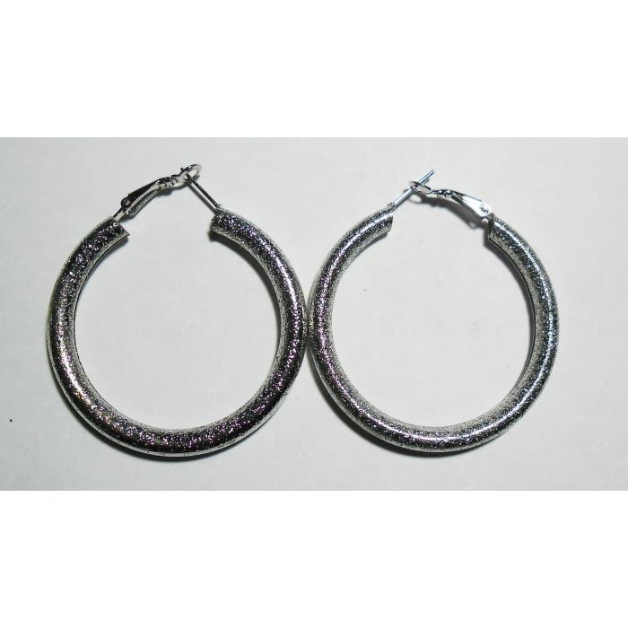 boucles d/'oreille créoles argentées finement travaillée 5 cm Bijou fantaisie