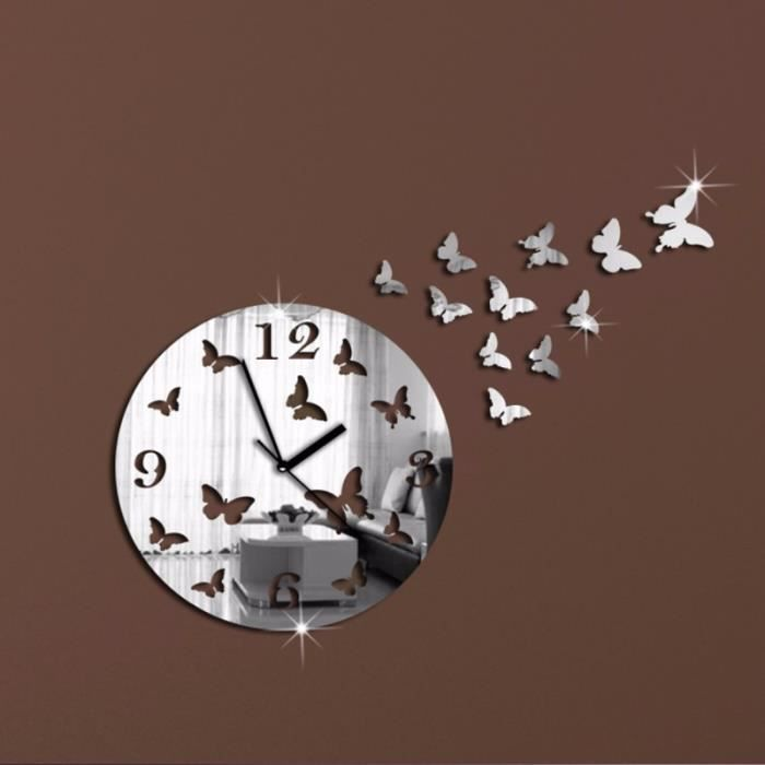 Horloge murale moderne papillon decoration mirroir achat for Decoration murale moderne