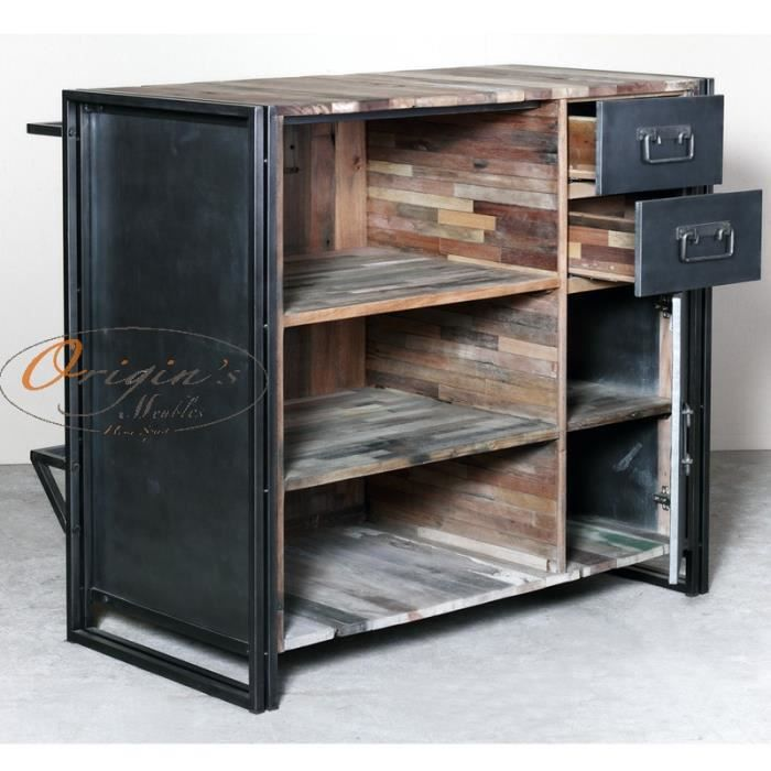 bar industriel urban fer et bois de bateau achat vente. Black Bedroom Furniture Sets. Home Design Ideas