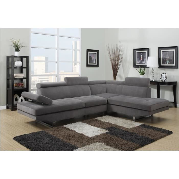 canap d 39 angle design tissu rubic gris achat vente canap sofa divan tissu bois cdiscount. Black Bedroom Furniture Sets. Home Design Ideas
