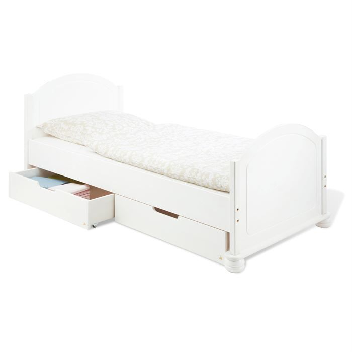 lit clara avec 2 tiroirs en pin massif blanc achat. Black Bedroom Furniture Sets. Home Design Ideas