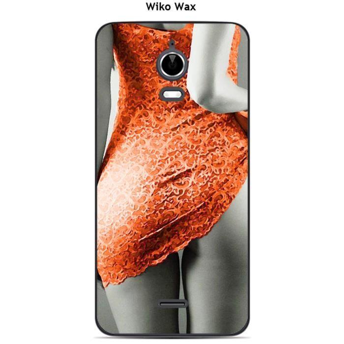 Coque Wiko Wax Femme sexy robe orange - Cdiscount Téléphonie