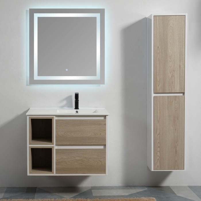 Meuble de salle de bain 2 Tiroirs 2 Niches - Bois - Vasque ...