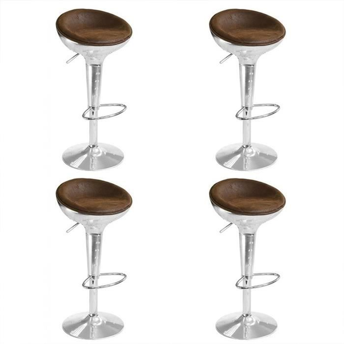 Lot de 4 tabourets de bar design vintage aviator achat vente tabouret m - Lot 4 tabouret de bar ...