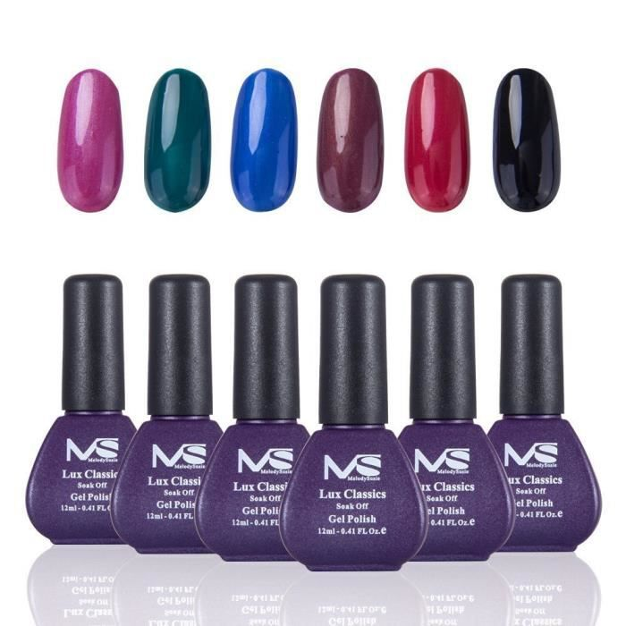 Led Semi Gel Uv Six 6 Et Melodysusie Vernis Permanent Séchage Lot De DHE2W9YI