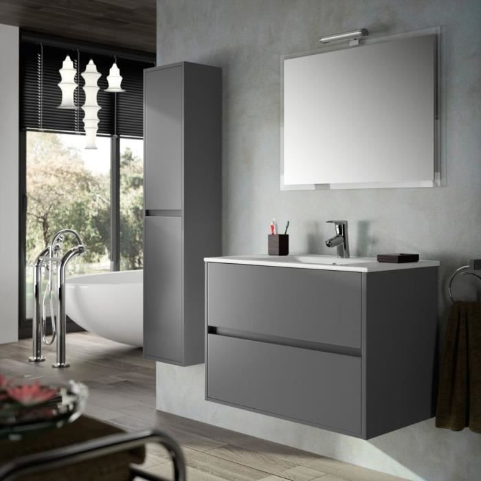 meuble salle de bain suspendu 90 cm couleur gris achat vente meuble vasque plan meuble. Black Bedroom Furniture Sets. Home Design Ideas