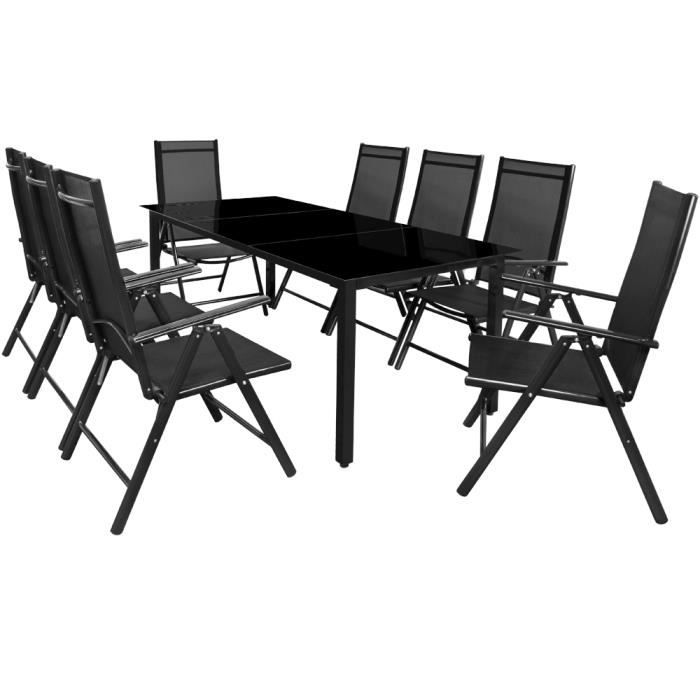 salon de jardin ensemble table et chaises bern 8 et 1 en aluminium avec chaises pliables. Black Bedroom Furniture Sets. Home Design Ideas