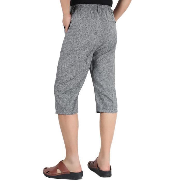 Pantacourt Homme en Lin Taille Elastique Coupe Droite Pantalon Court Confortable Respirant